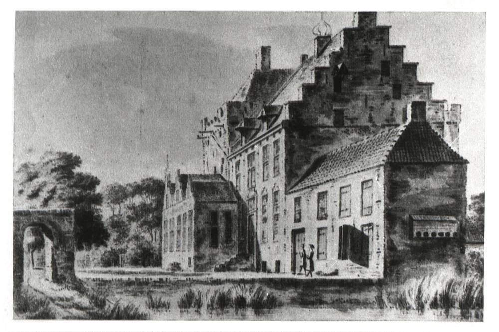 De Buckhorst in Zalk. Tekening Abraham de Haen, 1729